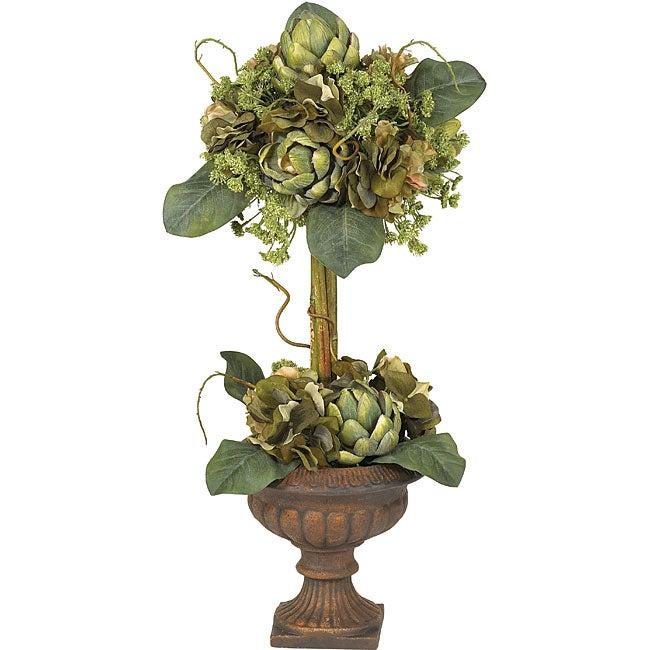 Silk Artichoke Topiary Flower Arrangement
