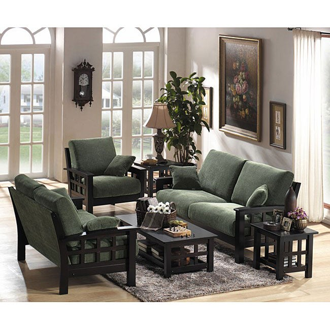 Shop Arenth Chenille 3 Piece Green Microfiber Sofa Set Free