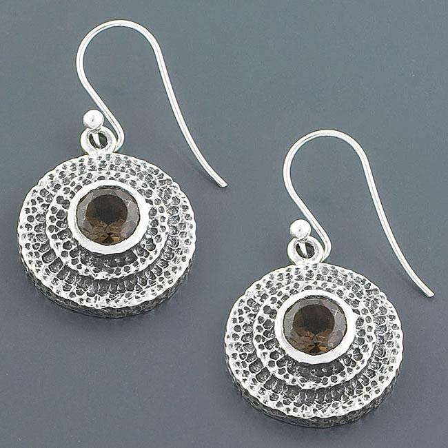 Sterling Silver Smokey Quartz Disc Earrings (India)