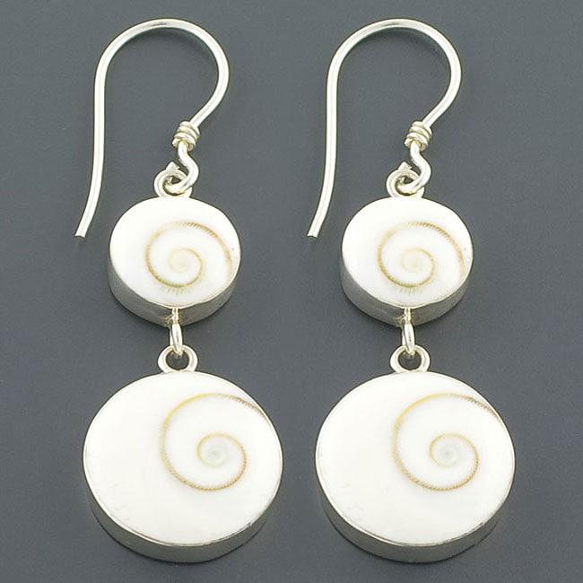 Sterling Silver Dual Chakra Shell Dangle Earrings (Indonesia)