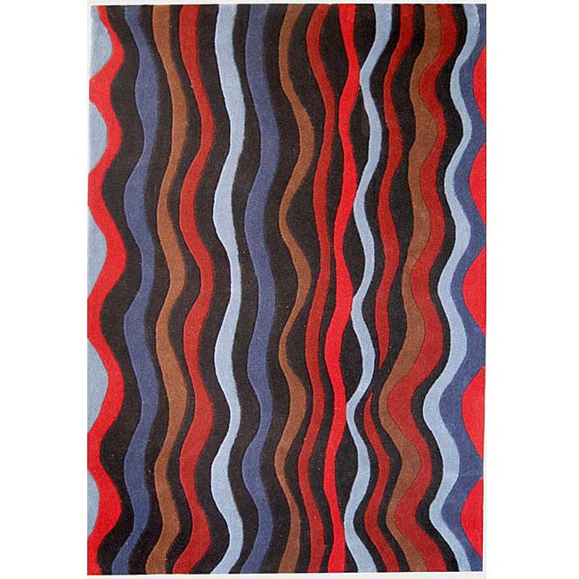 Hand-tufted Wave Multicolor Wool Rug (5' x 8')
