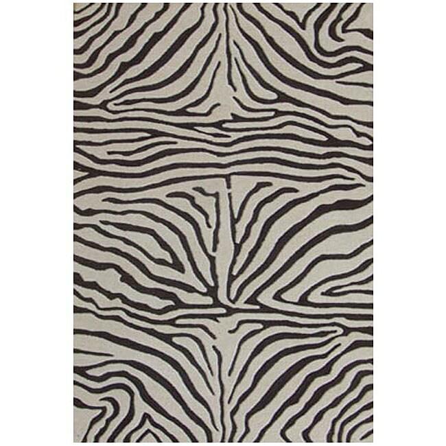 Hand-tufted Brown Zebra Wool Rug (8' Round)