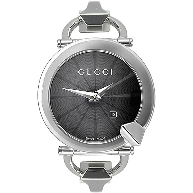 5a3a1b11952 Shop Gucci Chiodo Women s Steel Black Dial Watch - Free Shipping Today -  Overstock - 3358615