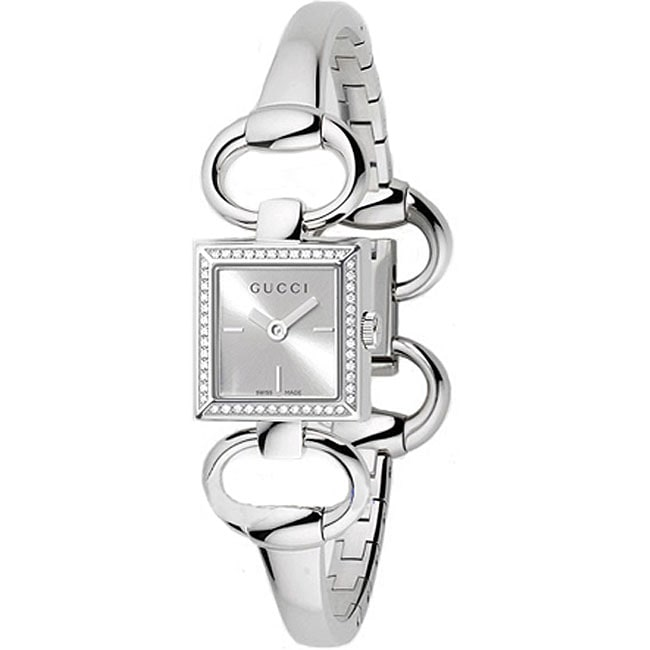230b48348 Shop Gucci Tornabuoni Women's Square Case Diamond Watch - Free Shipping  Today - Overstock - 3358612