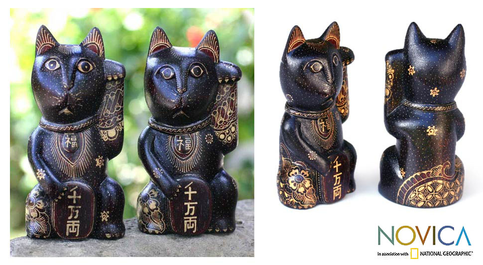Pair of Wood Batik 'Lucky Cats' Statuettes (Indonesia)
