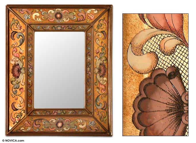 Handmade 'Golden Coat of Arms' Mirror (Peru)