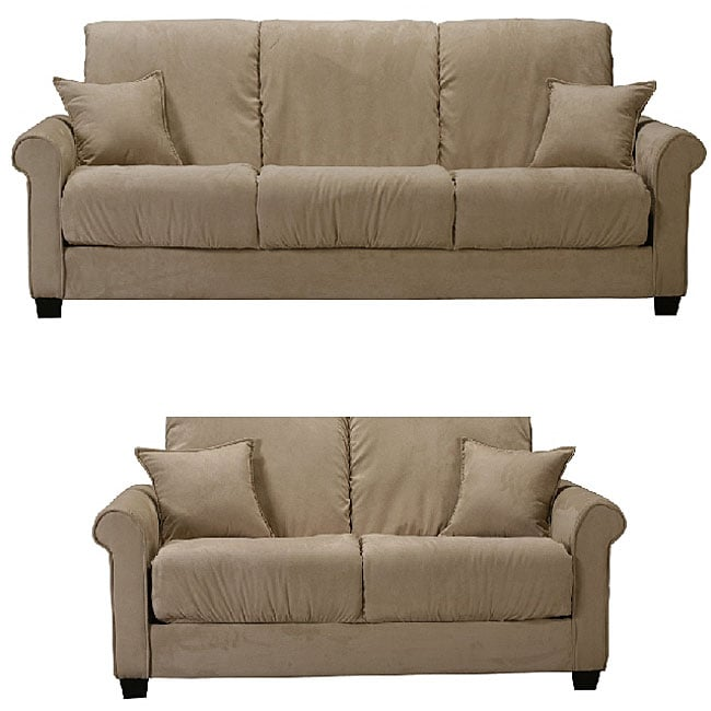 Lee khaki microfiber futon sofa and loveseat set free shipping today 11463239 Microfiber sofa and loveseat set