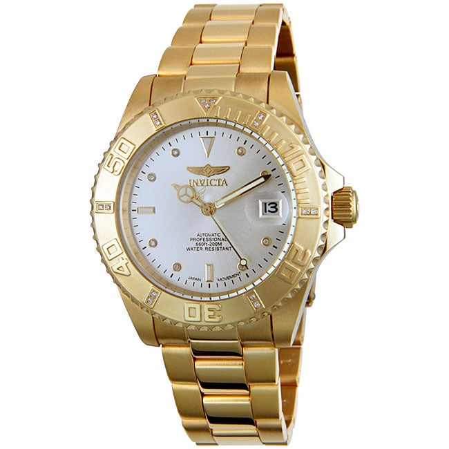 f2d76789c Shop Invicta Pro Diver Men's Goldplated Diamond Watch - Free Shipping Today  - Overstock - 3377530