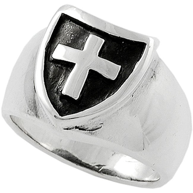 Sterling Silver Shield with Cross Ring