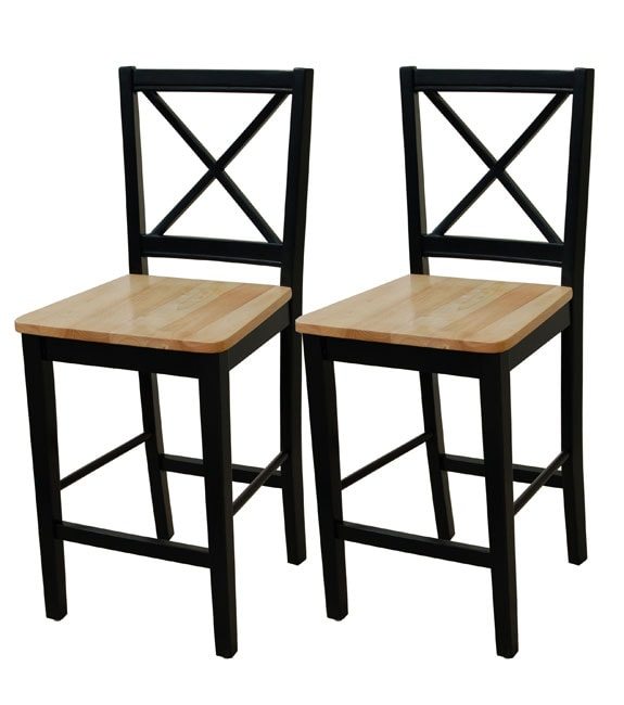Simple Living Virginia 24 Inch Cross Back Stools Set Of 2