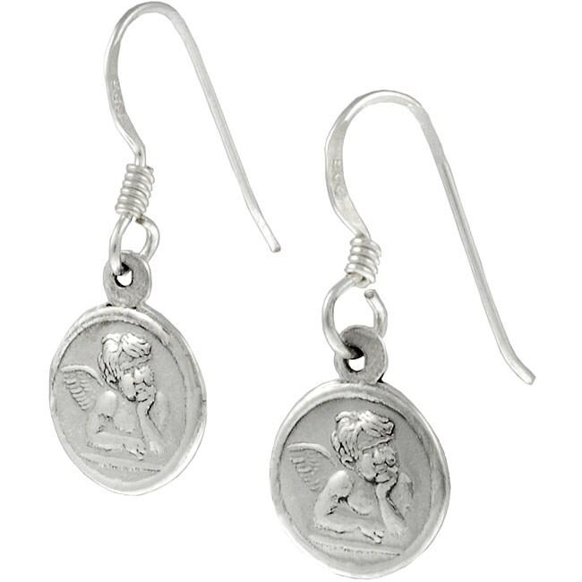 Sterling Silver Cherub Angel Earrings