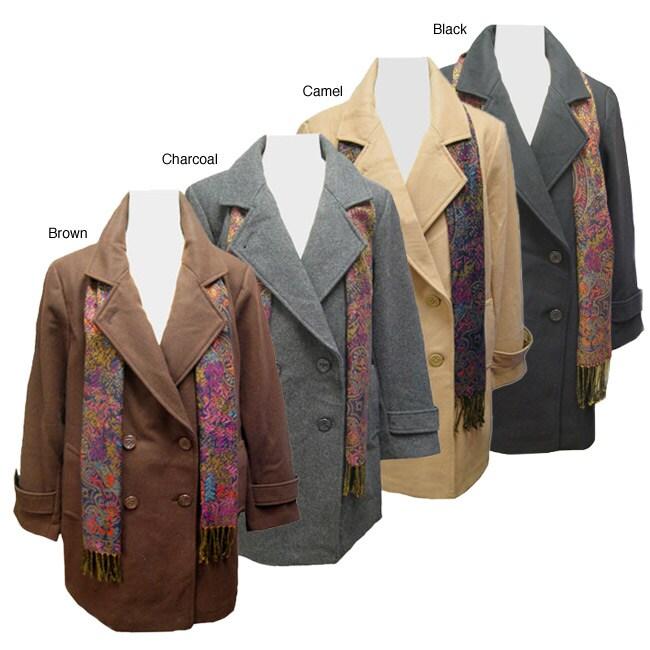 Komitor Women's Plus Size Wool Pea Coat