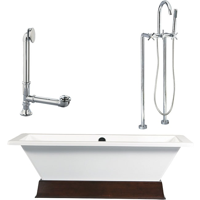 Giagni Tella Wood Plinth and Tub with Floor Faucet Packag...