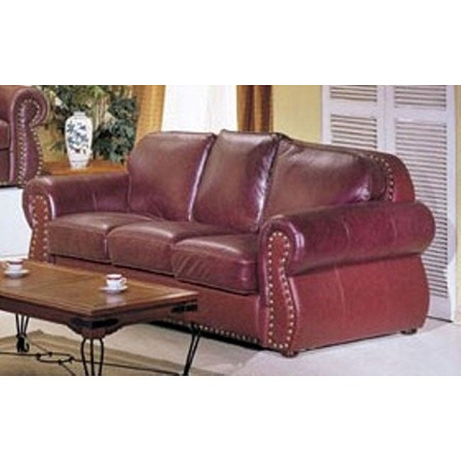 San Joaquin Burgundy Leather Sofa Free Shipping Today