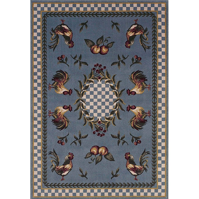 Avalon Blue Rooster Rug 7 10 Round Free Shipping Today