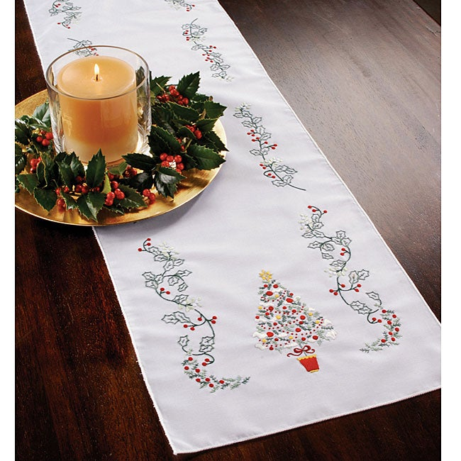 Christmas Holly Stamped Embroidery Table Runner Free