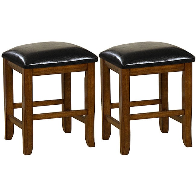 Mission-style 18-inch Oak Dining Stools (Set of 2)