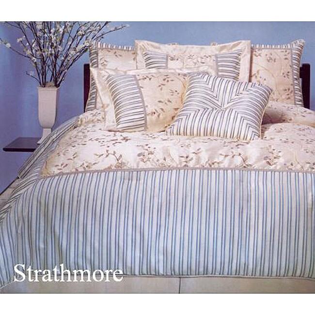 Strathmore Blue 4-piece Luxury Queen Comforter Set