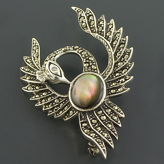 Sterling Silver Labradorite and Marcasite Brooch (Thailand)