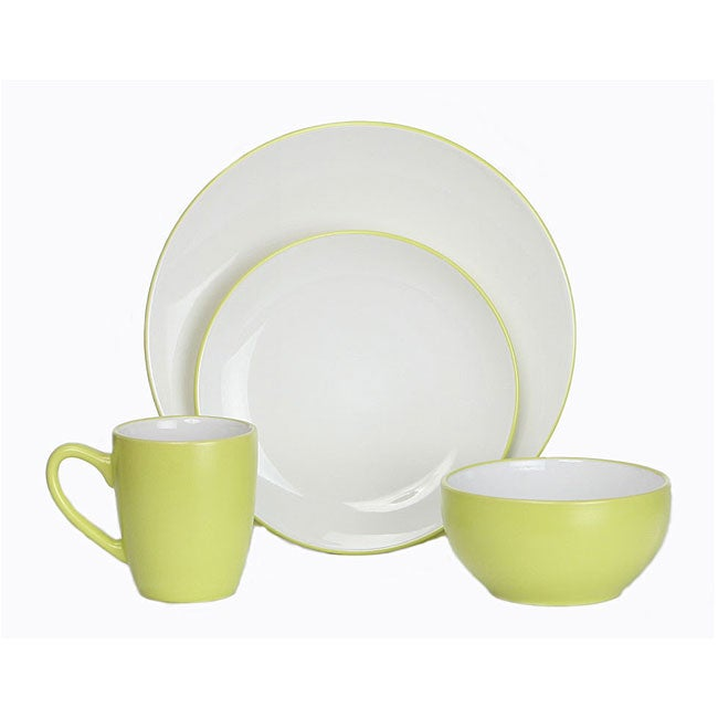 Everyday Lime Green and White 16-piece Dinnerware Set