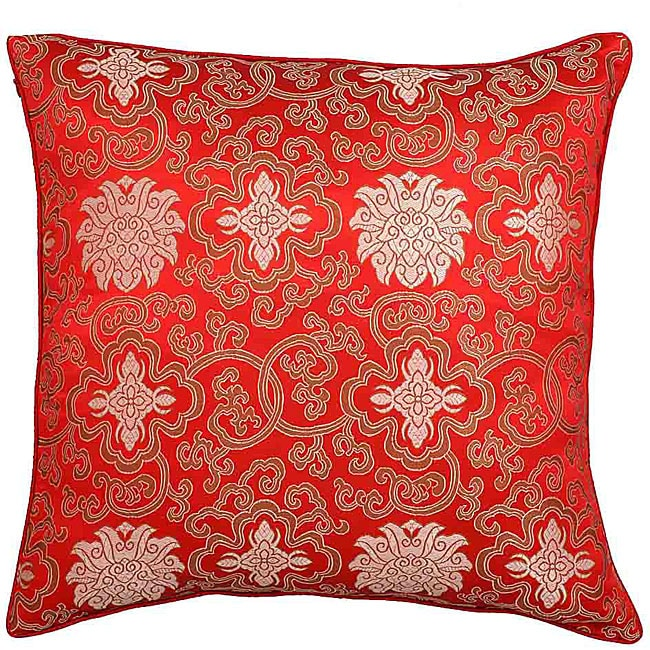 Handmade Chinese Lotus Flowers Red Cushion Cover