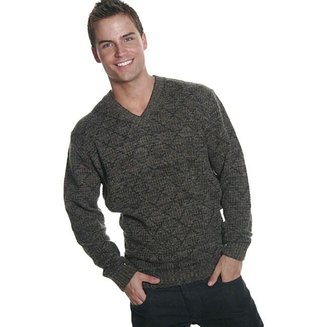 Oggi Moda Men's Taupe Wool Blend V-neck Sweater