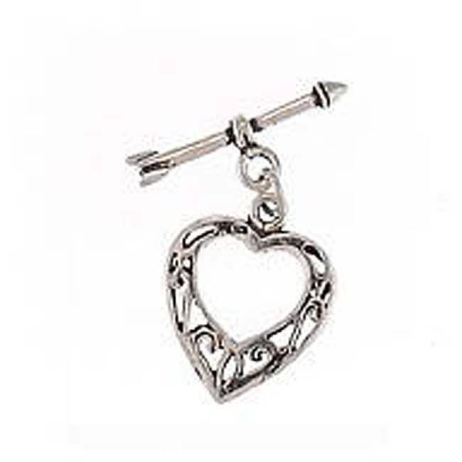 Sterling Silver Heart and Arrow 20-mm Toggle Clasp