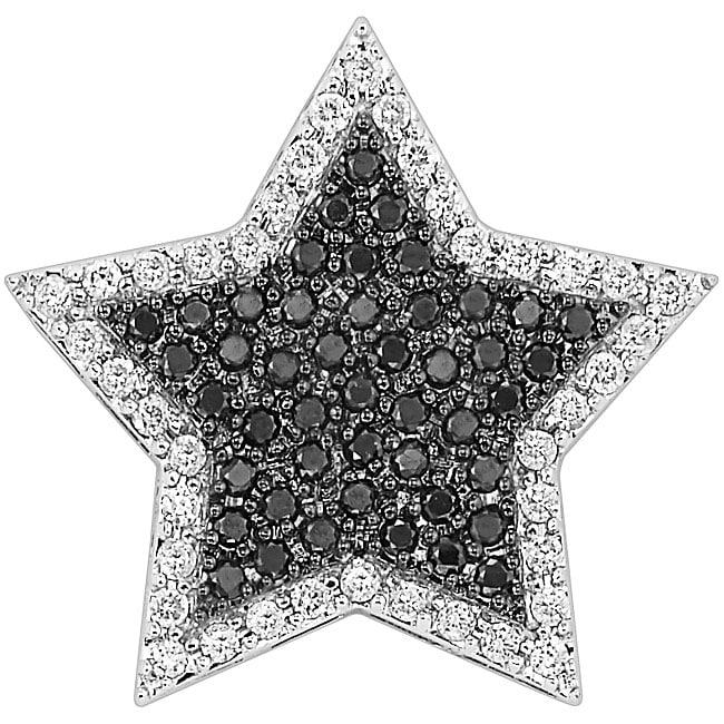 14k Gold 3/4ct TDW Black/ White Diamond Star Necklace