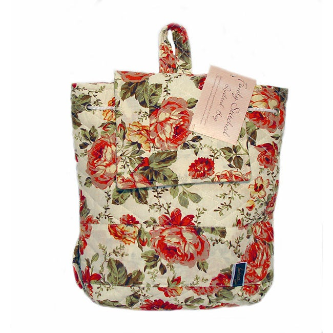 American Mills Quilted Red Floral Backpack