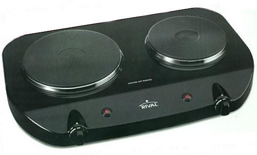 Rival Bd250 Black Solid Disk Double Burner