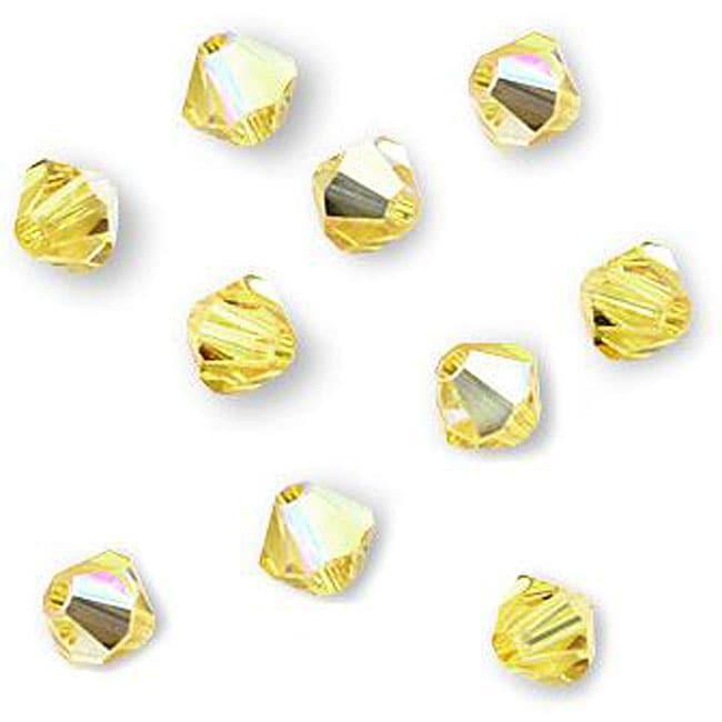 Light Topaz Austrian Crystal AB 4-mm Bicone Beads (Case of 50)