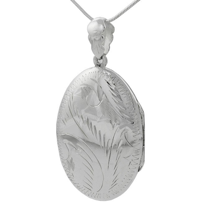Sterling Silver Etched Oval Locket Necklace