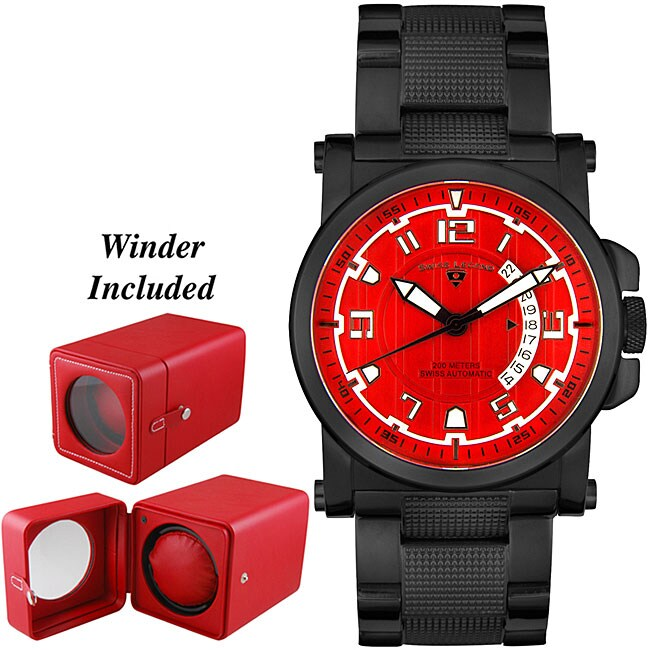 Shop Swiss Legend Mens Sportmatic Red Dial Automatic Watch Free