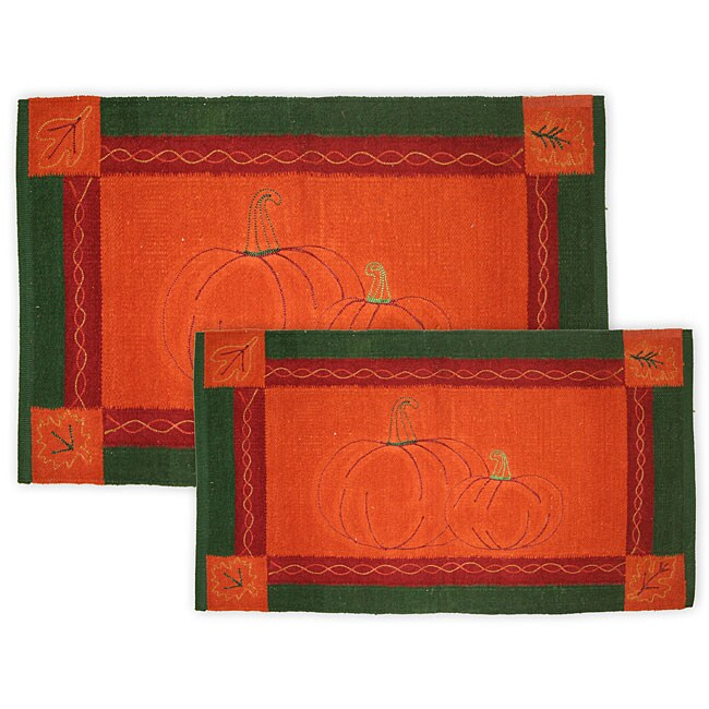 Pumpkin Duo 2-piece Cotton Jacquard Rug Set