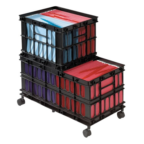 Rolling File Cart Crate System Bk Free Shipping On
