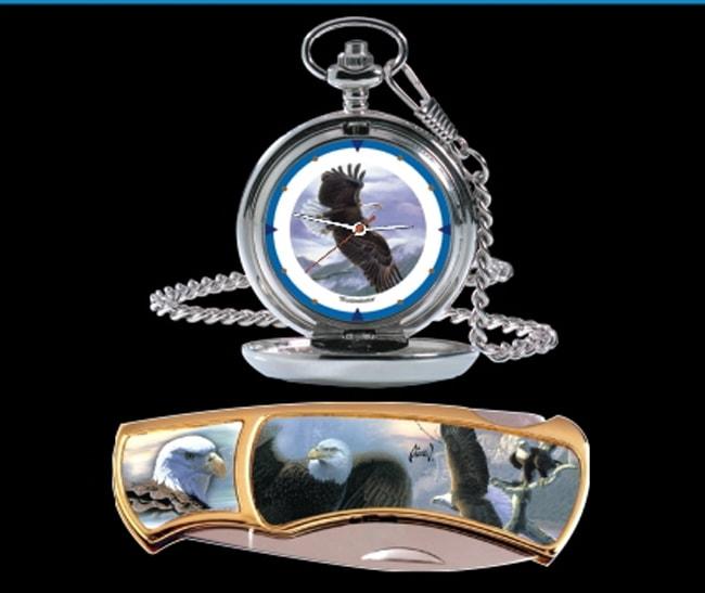 Agnew Eagle Pocket Watch/Knife Combo - Thumbnail 1