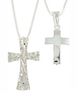 Carolina Glamour Collection Sterling Silver Diamond-cut Cross Necklaces  (Set of 4)
