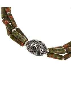 Unakite Jasper And Silver Bracelet - Thumbnail 1