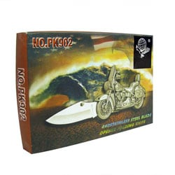 Stainless Steel Motorcycle Pocket Knife - Thumbnail 1