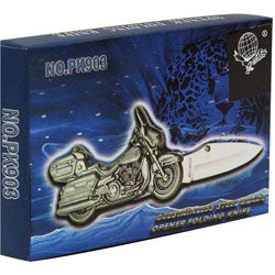 Stainless Steel Motorcycle Chopper Pocket Knife - Thumbnail 1