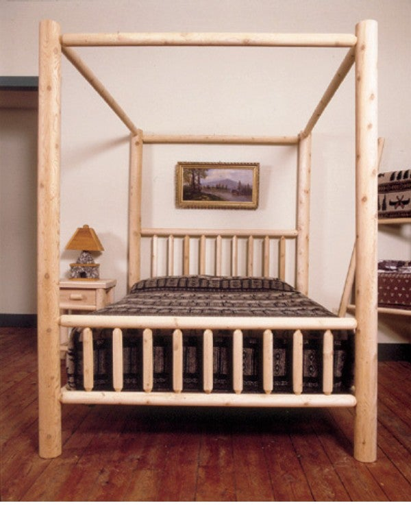 Rustic Log Pole Cedar Adirondack Queen Canopy Bed. Rustic Log Pole Cedar Adirondack Queen Canopy Bed   Free Shipping