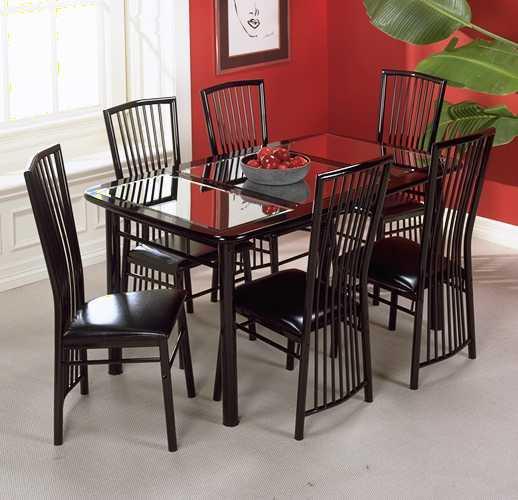 Manhattan Black Lacquer Mirrored Dinette Table Set - Thumbnail 1