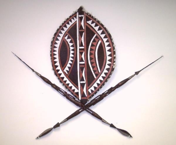 Handmade Masai Shield And Spear Set Kenya Free