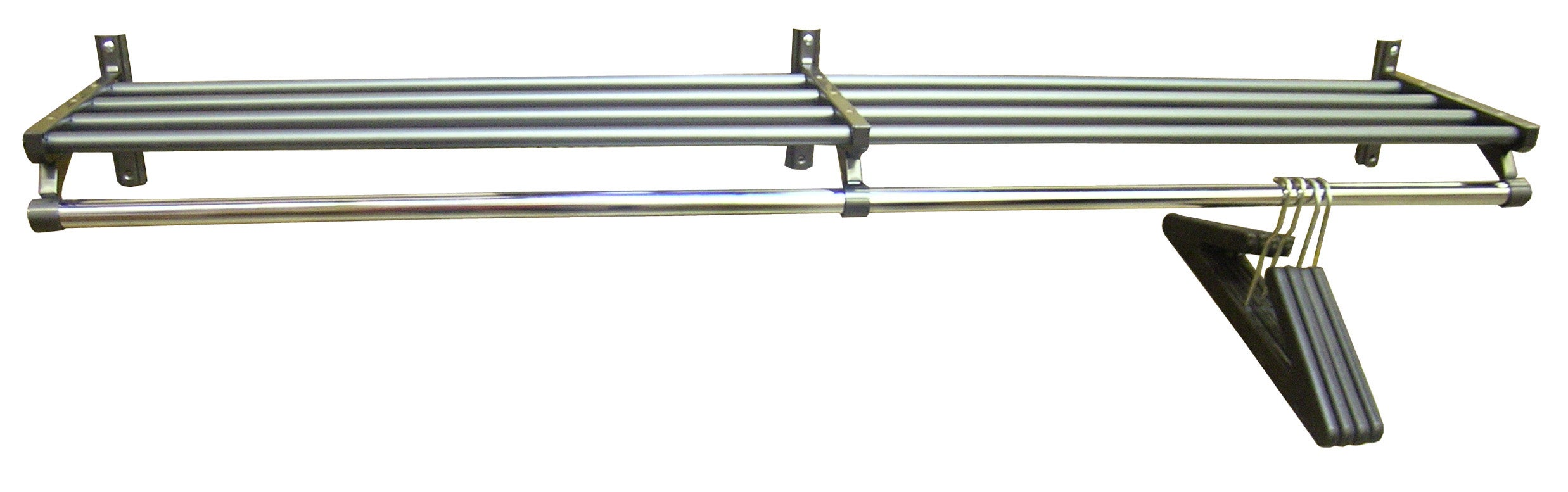 Wall Mounted 60 Inch Grey Coat Rack With Hanger Bar Free