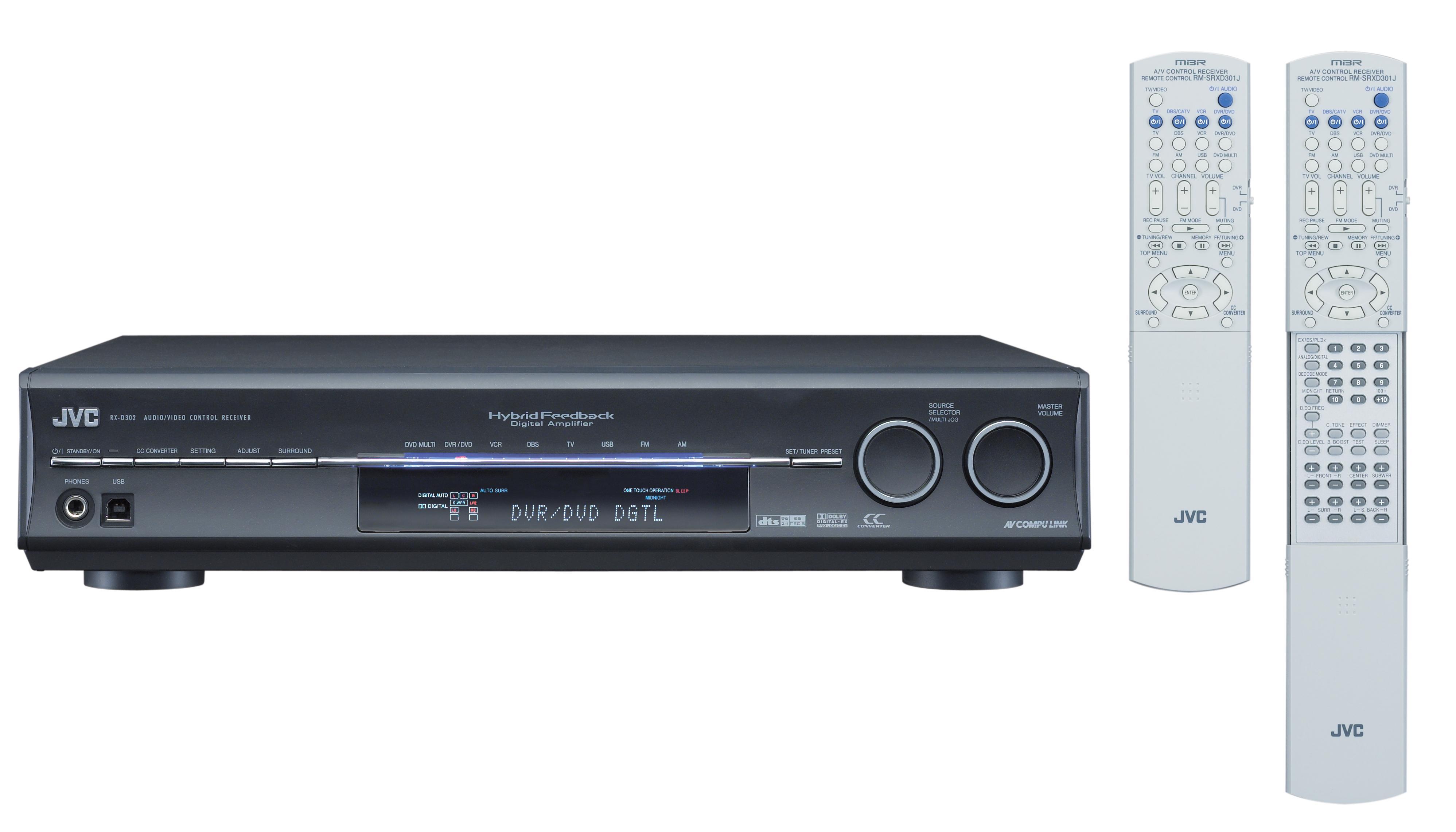 JVC RX-D302B 110W per Channel A/V Control Receiver (Refurbished) - Thumbnail 1