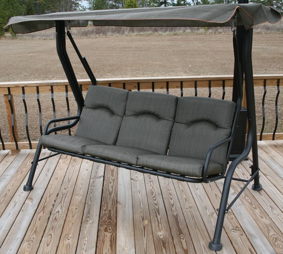 Tan Three-seater Patio Swing