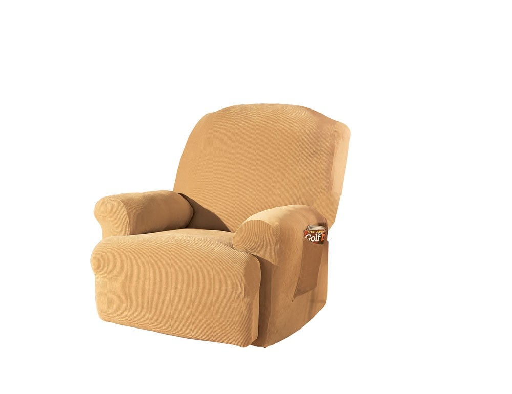 STRETCH Ribbed Washable Large Recliner Slipcover - Thumbnail 1