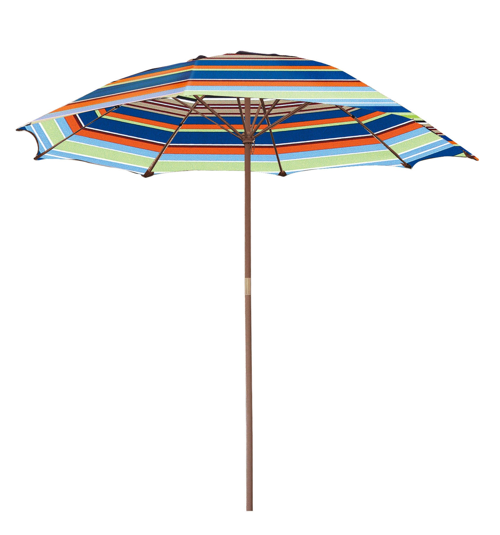 Patio Umbrella; Striped Wooden 6.5-ft. Patio Umbrella