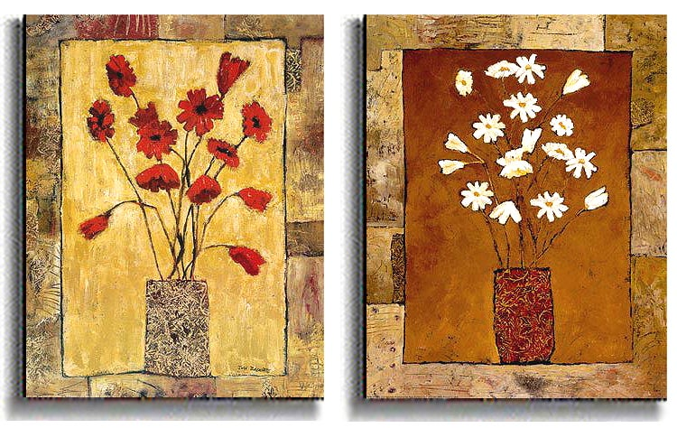 Red & White Flowers - Bagnato Stretched Canvas Set
