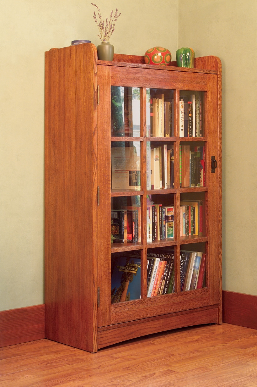 Mission Solid Oak Bookcase with Glass Door